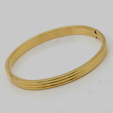 10K Yellow Gold Filled GF Solid Bracelet Bangle, 5.7 x 4.9cm ID, 6mm Wide