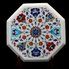 Marble Inlay table Top Inlaid With Semi-Precious Gems Stone For Side table