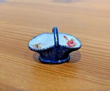 Royal Worcester Small Blue Basket Painted With Roses