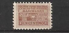 7486A-SELLO FISCAL 1930 CAJA PENSIONES VEJEZ AHORRO BARCELONA 1 CENTIMO.ANTIGUO