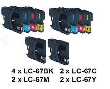 10x LC-67 (LC67) BK+C+M+Y ink cartridges for Brother DCP185/385 MFC990 J615,J715