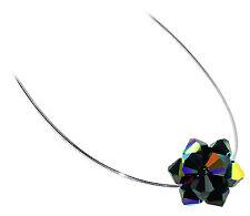 925 Silver Swarovski Elements Black AB Crystal Omega Chain Necklace 18 inch