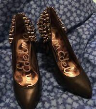 Sam Edelman Black Leather Spiked Heel  and Rhinestone Women's Pumps Sz 7.5