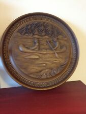 KARL ROTHAMMER - FISHING INDIANS - HAND CRAFTED WOOD CARVING