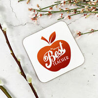 Red Apple Best Teacher Cup Coaster Dining Table Wooden Hardboard Mat