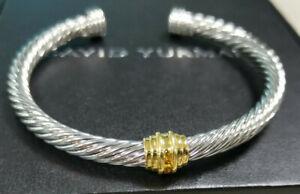 Authentic David Yurman, sterling silver gem bracelet, 14K, classic cable style