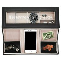 Custom Leather Valet Tray Box Personalized Mens Dresser Organizer
