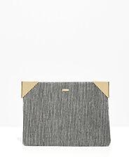 Nali Grey Glitter Stripe Envelope Clutch Shoulder Handbag Metal Edges Italian