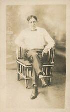 Man Sitting on Corner Chair Real Photo Postcard rppc