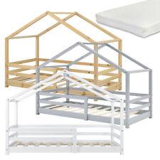 Kinderbett mit Rausfallschutz Matratze Haus Bettenhaus Bett Holz Natur Weiß Grau
