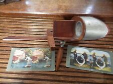 ANTIQUE CIRCA 1903 AMERICAN STEREOSCOPIC CO. NY STEREOSCOPE WITH 2 SPORTS CARDS