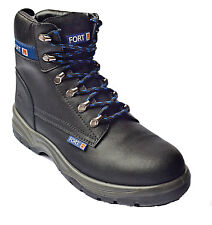 MENS SAFETY BOOTS STEEL TOE CAP WORK ANKLE FORTRESS SIZE UK 6 - 12 BLACK REDUCED