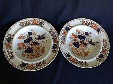 2 Antique Ironstone China Bowls Blue Orange Floral w/ Bird (Pair)