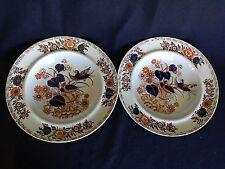 2 Antique Ironstone China Bowls Blue Orange Floral w/ Bird (Pair)