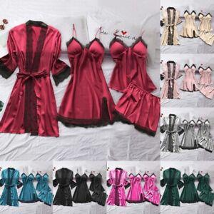 4PCS Women Sexy Satin Silk Nightwear Sleepwear Gown Long Dressing Set Lace@Night