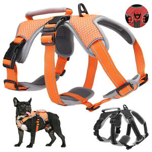 No Pull Reflective Adjustable Dog Harness With Handle Breathable Vest Rottweiler