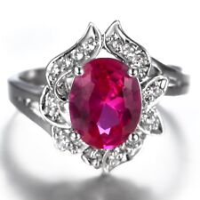 Handmade Natural 2.90ct Ruby   Size US 7 14K White Gold Ring VKOY42SD