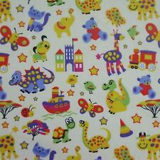Cream 100% Brushed Cotton Winceyette Fabric w/ Animals Toys Design (Per Metre)