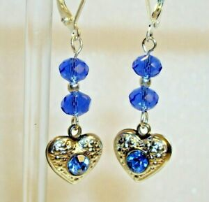 BLUE CRYSTAL HEART EARRINGS WITH SECURE STERLING SILVER LEVERBACKS