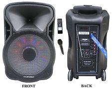 "12"" Portable 1200W Speaker PA System Wireless Mic Bluetooth Rechargeable MU-12D"