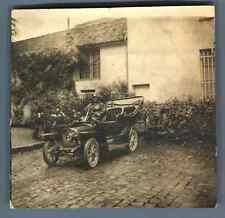France, Monsieur au volant d'une voiture d'époque  Vintage silver prin
