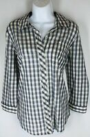 LUCKY BRAND Navy Cream Check Pattern Unique 3 Button Cinch Back Blouse Top M