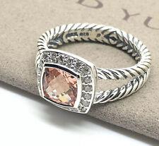 David Yurman Sterling Silver Petite Albion Ring With Morganite & Diamonds Size 7