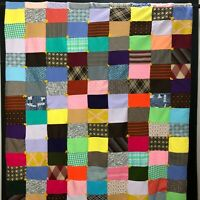 """Vintage Patchwork Quilt Handmade Yarn Tied Throw Blanket Double Knit Clothes 66"""""""