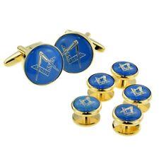 Blue & Gold Enamelled Masonic Cufflinks & 5 Button Stud Set in a Box X2Aj322A