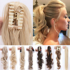 AU 100% Natural Remy Clip in Hair Extensions Claw on Ponytail Curly As Human TN7