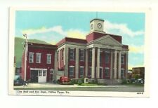 CITY HALL AND FIRE DEPT, CLIFTON FORGE, VIRGINIA VINTAGE POSTCARD