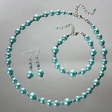 Vintage pearl wedding bridal jewellery set necklace bracelet earrings aqua blue