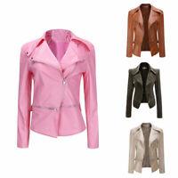 Nouvelle Femme Slim Manteau Motard Extérieur Veste Outwear à Fermeture Éclair 04