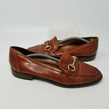 Joan & David Italy Brown Leather Flats Slip On Loafer Heel Shoes Women Size 8/39