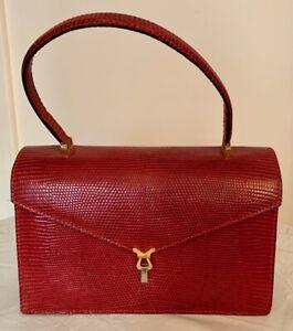 Vintage PIRANI bordeaux Lizard Handbag, 1967