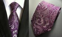 Purple Mens Tie Paisley Patterned Handmade 100% Silk Wedding Necktie 8cm Width