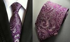 Violet Paisley à Motifs Fait Main Cravate 100% soie