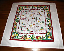 "NEW Retro Style Cotton 40's/50's Tablecloth -RED CACTUS CALIFORNIA- 52"" Square"