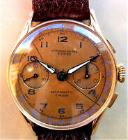 1940's Swiss 18K Gold Chronographe Suisse Landeron 51 Chronograph Watch Serviced