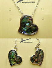 Hawaiian Abalone Shell Heart Pendant + Earrings Set Hawaii Islands Jewelry NIB