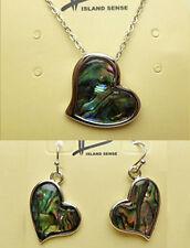 Hawaiian Abalone Shell Heart Pendant + Earrings Set Hawaii Islands Jewelry NIB