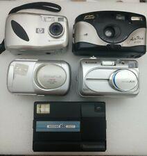Lot Of 5 Cameras Kodak Disc 3600 HP Photosmart 318 Olympus Camedia Fuji Suprema