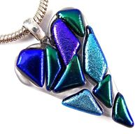 "Dichroic Glass HEART PENDANT Slide Clear Blue Green Teal Purple Recycled 2"" 50mm"