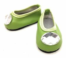 Lime Green Flats Shoes with Rhinestone for 18 inch American Girl Doll Clothes