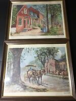 VERNON WOOTEN SIGNED Vintage Set of Framed Prints - Colonial Williamsburg 16x20""