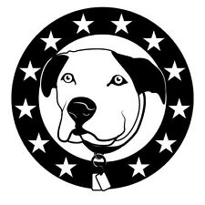 DOG FACE IN A CIRCLE OF STARS DECAL CAR  STICKER