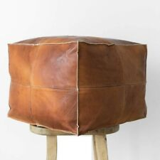 Set of 2 Moroccan Pouf Cube Pouf Ottoman Square Moroccan Pouf Natural uniquBrown