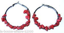 BOUCLES D'OREILLES BIJOUX FANTAISIE CREOLE anneau pierre rouge tendance soirée