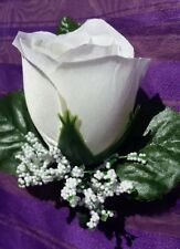 Rose Boutonniere*Corsage,White *Groom*Best man*Prom*Quinceanera wedding groom