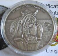 Kongo 1000 Francs 2012 Tiere Nashorn 1 Oz Silber